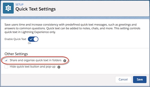 Screen shot of the Quick Text Settings page.
